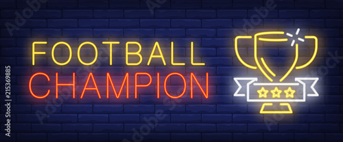 Fotografie, Tablou Football champion neon text with cup