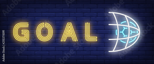 Goal neon text with soccer ball in net Canvas-taulu