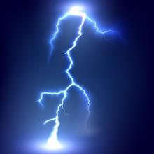 Lightning Strikes The Ground. Electric Light Thunder Spark. Realistic Lightning On Dark Background. Vector Illustration