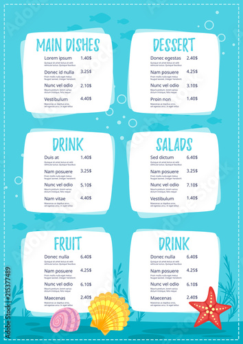 Poster Turquoise Children menu meal template.