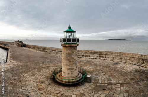 Εκτύπωση καμβά Light House at Dun Laoghaire harbor, cloudy skies, evening time