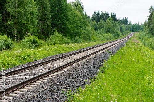 In de dag Spoorlijn Railroad tracks leading through rural landscape.