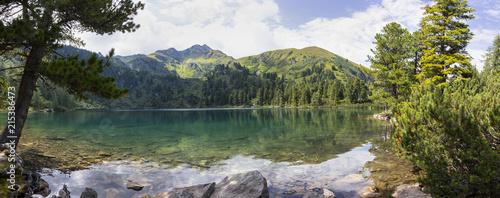 mountain lake scheibelsee, in the background mountain great boesenstein in styria, rottenmanner tauern, austria