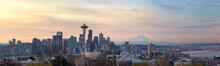 Seattle WA Skyline With Mount ...