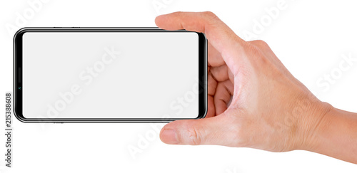 Foto auf AluDibond Weiß Mobile phone snapping a picture isolated on white background