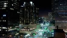 Timelapse Tilt Down Of Bonaventure Hotel Traffic Los Angeles California