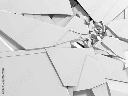 Dark destruction cracked hole in white stone wall Fototapet