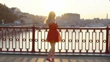 Cute Blonde Girl In Red Dress ...