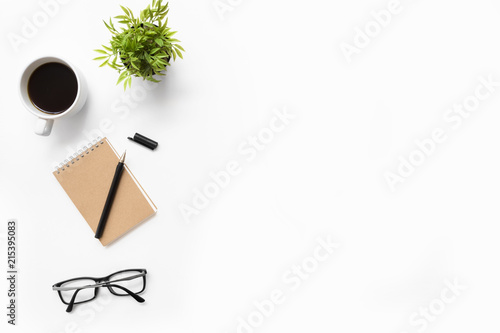 White office desk table with supplies Canvas Print