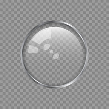 Transparent Metal Lens Or Glass Sphere On A Plaid Background. Vector Design Element For You Design