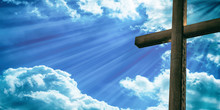 Crucifixion Of Jesus Christ, Wooden Cross, Blue Sky Background. 3d Illustration