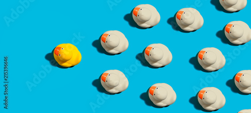 Rubber ducks leadership concept on a blue background Canvas Print
