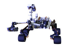 3D Rendering Mars Rover On White
