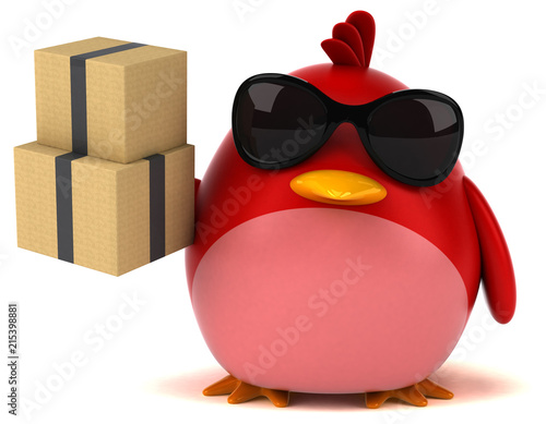 Photo  Red bird - 3D Illustration