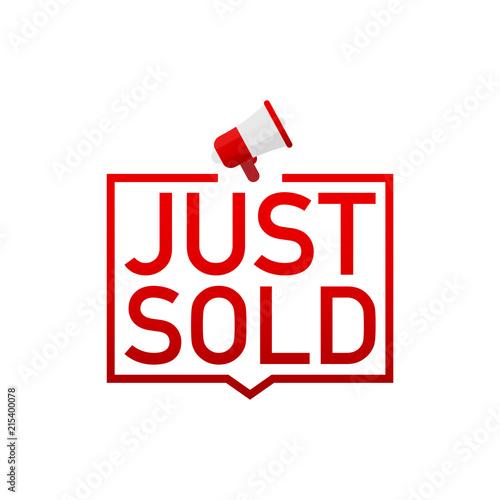Fotografie, Obraz  Red label Just sold on white background. Vector illustration.