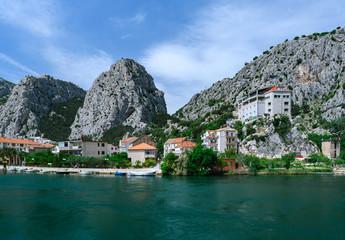 Beautiful view at Omis on the coast line of Croatia