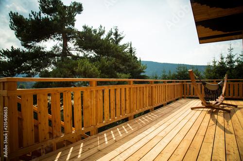 Fototapeta Terrasse de Chalet en bois obraz na płótnie