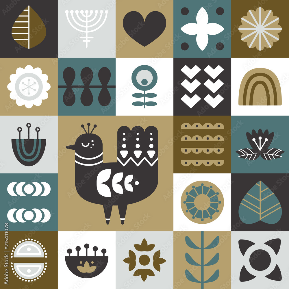 Geometric folk art background. Seamless pattern with bird and decorative elements. Nordic style. Vector illustration.