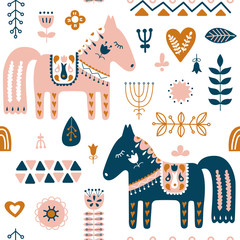 Panel Szklany Skandynawski Hand drawn seamless folk art pattern. Nordic repeating pattern with Dala Horse and forest floral elements. Vector illustration.