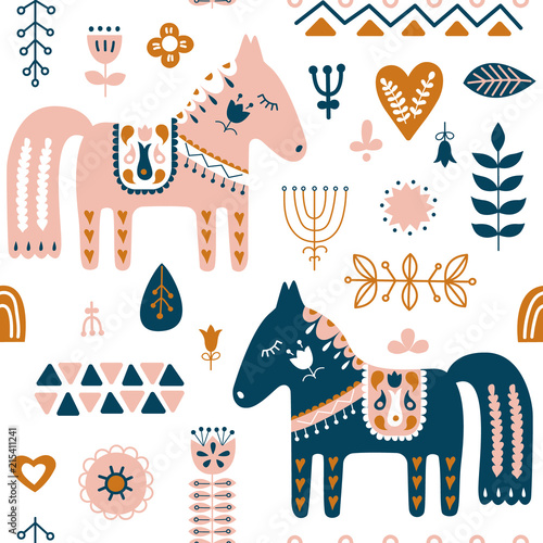 Hand drawn seamless folk art pattern Fotobehang