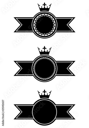 Set of monochrome empty vintage badges  Crowns and ribbons