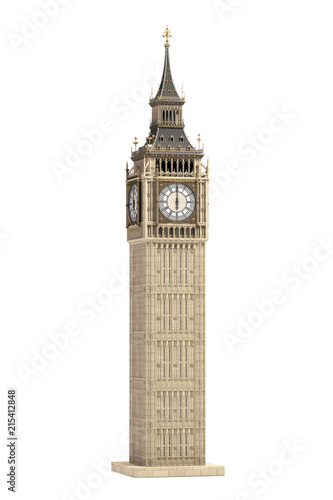 Big Ben Tower the architectural symbol of London, England and Great Britain Isol Canvas Print