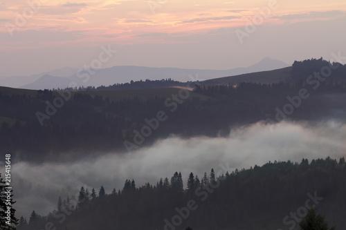 Fotobehang Grijze traf. Sunset in the mountains, Ukrainian Carpathians