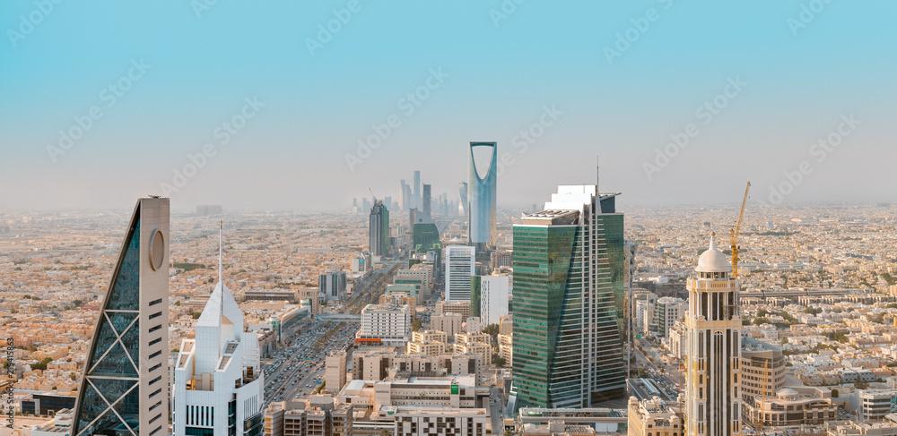 Fototapeta Saudi Arabia Riyadh landscape at Mourning - Riyadh Tower Kingdom Centre, Kingdom Tower, Riyadh Skyline - Burj Al-Mamlaka, AlMamlakah - Riyadh at Daylight - Tower View