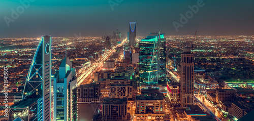 Saudi Arabia Riyadh landscape at night - Riyadh Tower Kingdom Centre - Kingdom Tower – Riyadh Skyline - Burj Al-Mamlaka – AlMamlakah – Riyadh at night