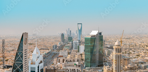 Photo Saudi Arabia Riyadh landscape at Mourning - Riyadh Tower Kingdom Centre, Kingdom