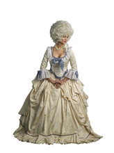 Marie Antoinette Cosplay. Victorian Dressed Female Model. Isolated On White.