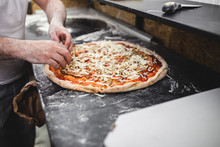 Close Up Shot Of Pizza Making ...