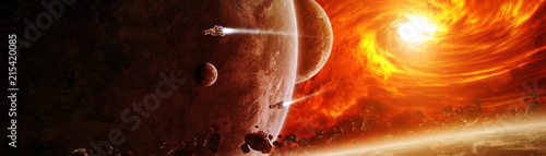 Fotografia Exploding sun in space close to planet 3D rendering elements of this image furni