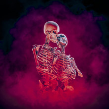 Evermore Gothic Romance / 3D Illustration Of Embracing Male And Female Skeleton Lovers Surrounded By Blazing Inferno