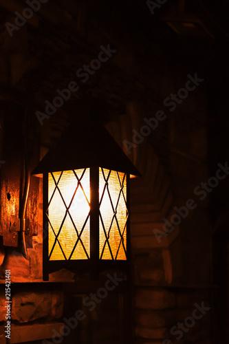 Poster Feeën en elfen Street lamp iluminated in yellow. Urban illumination for night