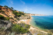 Beautiful Falesia Beach in Portugal seen from the cliff. Algarve coast beaches.