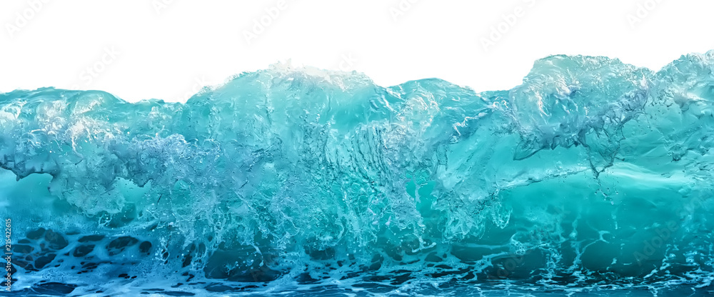Fototapety, obrazy: Big blue stormy sea wave isolated on white background. Climate nature concept. Front view