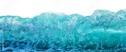 Poster Ocean Big blue stormy sea wave isolated on white background. Climate nature concept. Front view