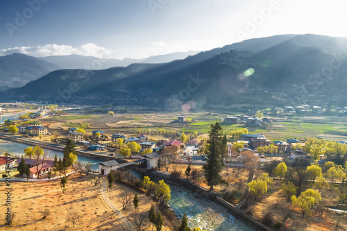 Foto auf Gartenposter Gebirge View of Pnuakha Valley with Cloudy Sky, Punakha, Bhutan