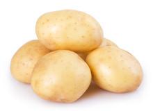 Raw Potato On White Background