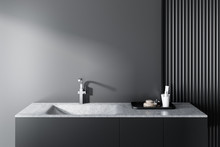 Gray Bathroom Sink, Gray Wall