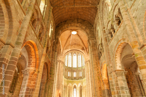 Interior of Mont Saint Michel church-abbey, UNESCO world heritage site, France Wallpaper Mural