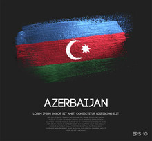 Azerbaijan Flag Made Of Glitter Sparkle Brush Paint Vector