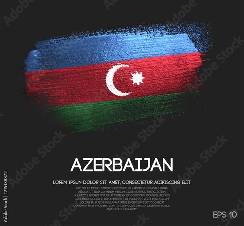 Azerbaijan Flag Made of Glitter Sparkle Brush Paint Vector Canvas Print