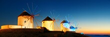 Mykonos Windmill Night Panorama