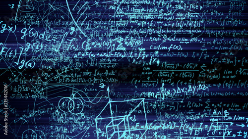 Fotografie, Obraz 3D rendering of abstract blocks of mathematical formulas located in the virtual
