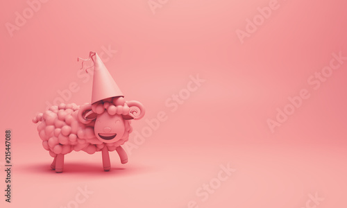 Pink cute cartoon sheep smile wearing party hat. Design creative concept of islamic celebration eid adha or happy birthday. 3d rendering illustration