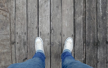 Man Shoes Walking On Wooden