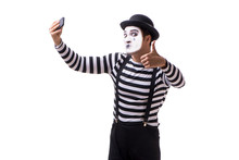 Mime With Smartphone Isolated On White Background
