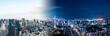 Leinwandbild Motiv 東京の昼と夜